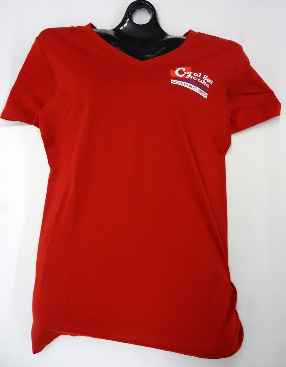 Coral Sea Scuba Logo Women's T-Shirt - Dive - Classic Red