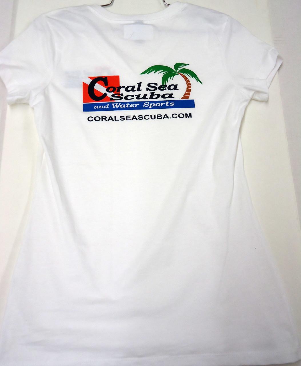 Coral Sea Scuba Logo Women's T-Shirt - Dive - Bright White