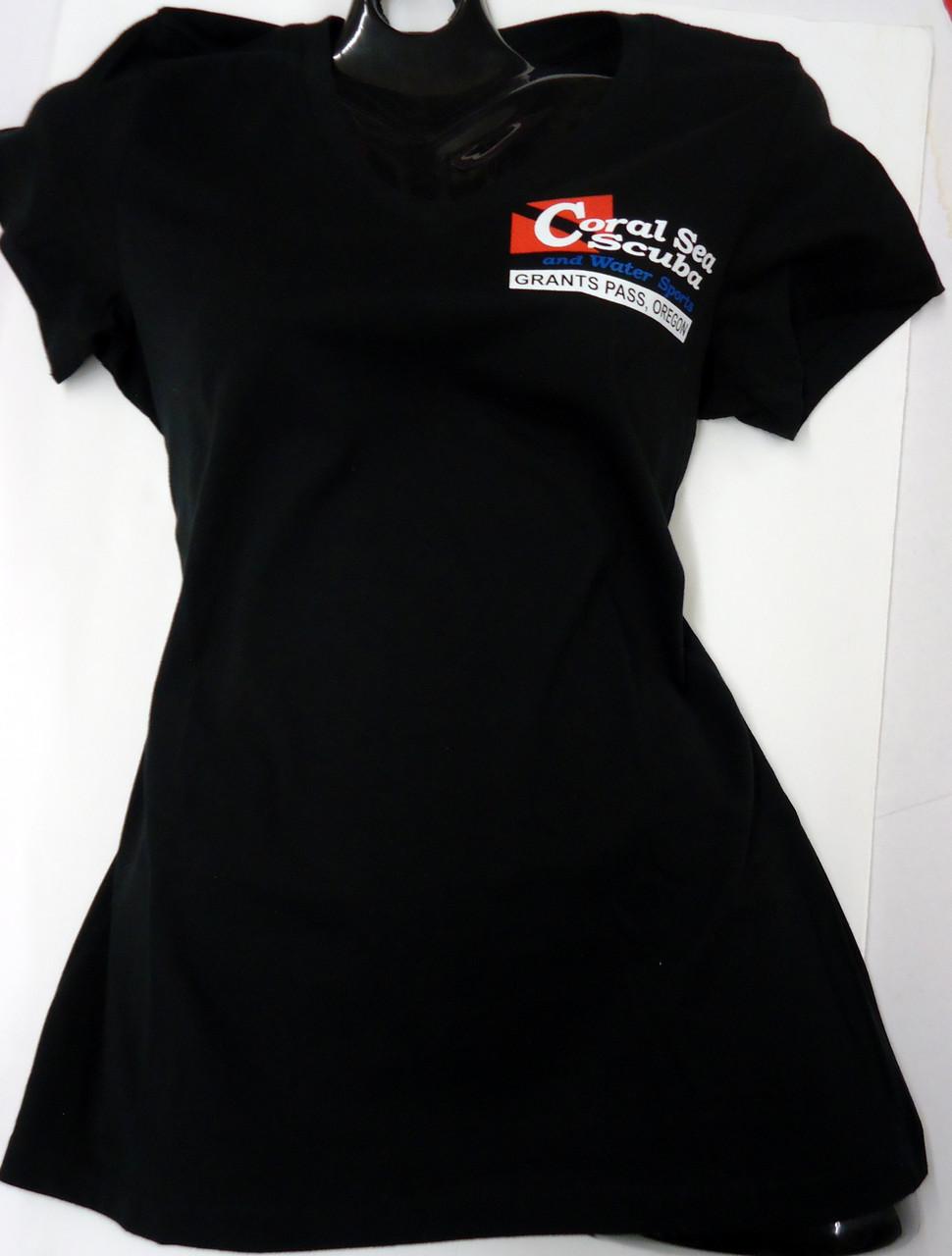 Coral Sea Scuba Logo Women's T-Shirt - Dive - Jet Black