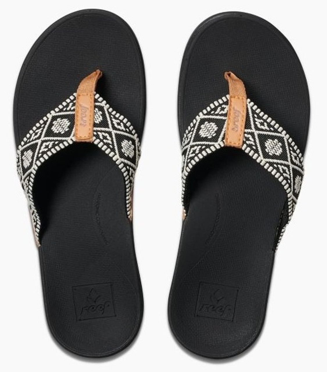 Women's Reef Sandals Flip Flops - Ortho Woven - Black/White - RF0A3VDNBLW