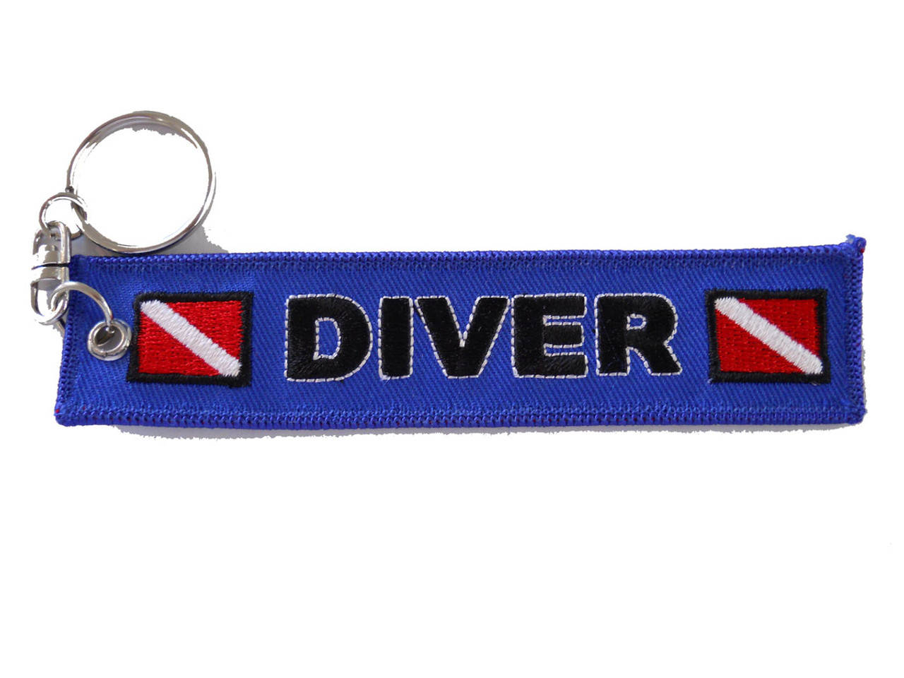 Scuba Diver Embroidered Banner Keychain