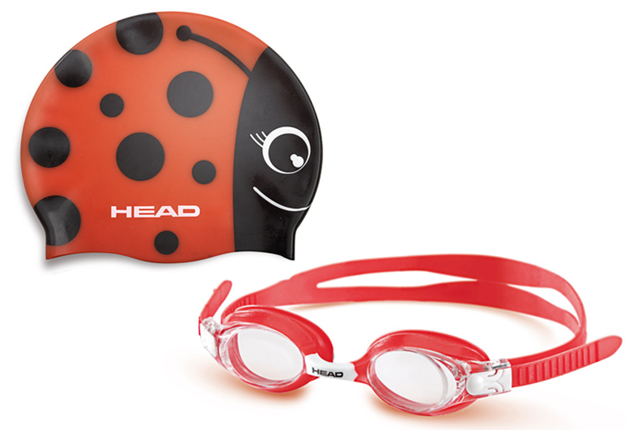 Head Meteor Character Youth Kids Cap Goggles Set Swimming