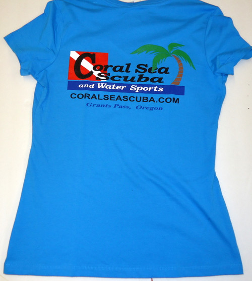 Coral Sea Scuba Logo Women's T-Shirt - Dive - Bright Turquoise