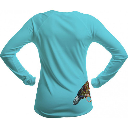 Sea Fear Women's 50+ UPF Long Sleeve Rash Guard Scuba Diving, Snorkeling, Sea Turtle