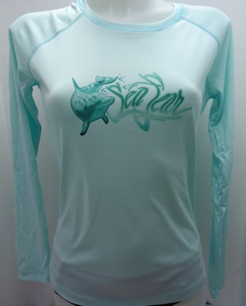 Sea Fear Women's 50+ UPF Long Sleeve Rash Guard Scuba Diving, Snorkeling, Dolphins