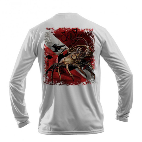 Sea Fear Men's 50+ UPF Long Sleeve Rash Guard Scuba Diving, Snorkeling, Lobster Flag