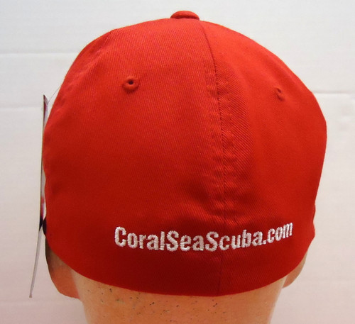 Coral Sea Scuba Logo Diving Dive Hat Diver Cap Flag Red