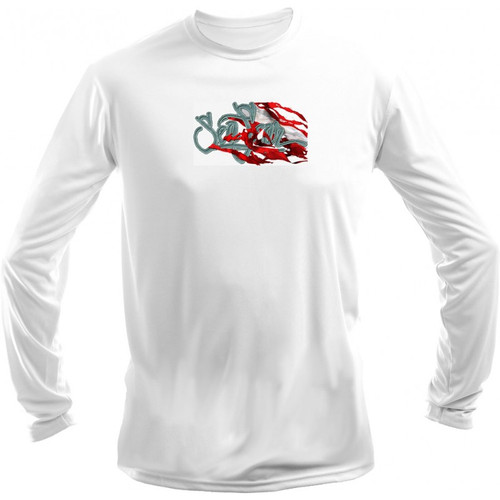 Sea Fear Men's 50+ UPF Long Sleeve Rash Guard Scuba Diving, Snorkeling, Hogfish Dive Flag