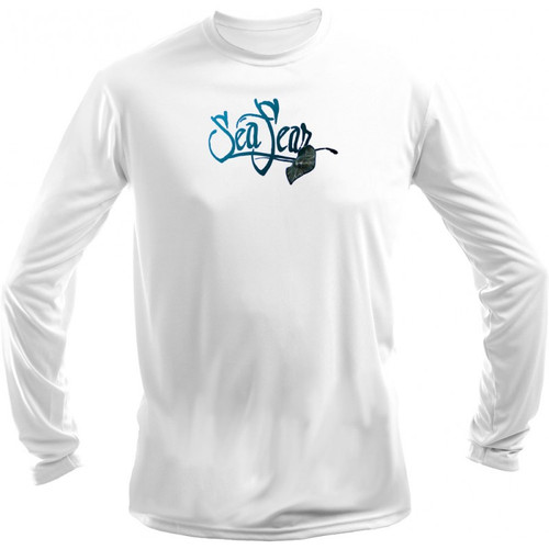 Sea Fear Men's 50+ UPF Long Sleeve Rash Guard Scuba Diving, Snorkeling, Stingray White
