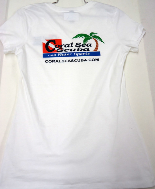Coral Sea Scuba Logo Women's T-Shirt - Dive - Bright White