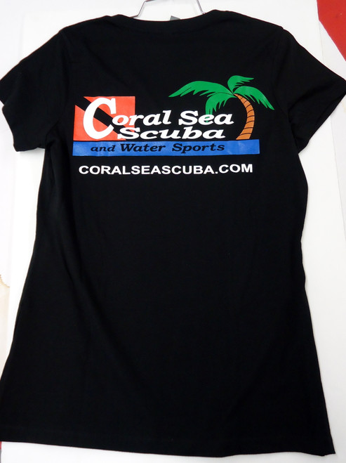 Coral Sea Scuba Logo Women's T-Shirt - Dive - Jet Black