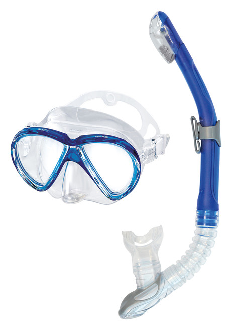 Head Combo Marlin Mask Snorkel Set Scuba, Freediving, Snorkeling