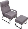 Sundale Adjustable Modern Single Recliner, Lazy Sofa Chair with Ottoman, Thick Padded Lounge Armchair Set, Adjustable Backrest, Living Room, Bedroom Furniture for Children, Teens (Gray)