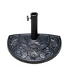 Half Round Resin Umbrella Base for Half Patio Umbrella, Black