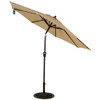 9 Ft Olefin Fabric Solution Dyed and UV Resistant Patio Garden Outdoor Market Umbrella with Auto Tilt and Crank (Taupe)