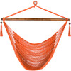 Lazy Daze Hammocks Caribbean Hanging Swing Chair, Soft Spun Polyester Rope, 47-inch Wood Spreader Bar, Weight Capacity 300 Pounds (Orange)