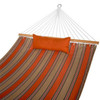 Sunbrella® Fabric Hammock, Pillow and 12 Feet Wood Arc Stand,Backyard Combo Set, Passage Poppy,by Lazy Daze Hammocks
