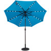 Solar Powered 32 LED Lighted Outdoor Patio Umbrella with Crank and Tilt, 9 Feet, Lake Blue