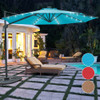 Sundale Outdoor 10FT Solar Powered 28 LED Lighted Umbrella Hanging Roma Offset Umbrella Outdoor Patio Sun Shade Cantilever Crank Canopy, Blue