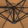 Sundale Outdoor 10FT Solar Powered 28 LED Lighted Umbrella Hanging Roma Offset Umbrella Outdoor Patio Sun Shade Cantilever Crank Canopy, Tan
