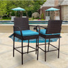 Sundale Outdoor 2 Pcs All Weather Patio Furniture Set Brown Wicker Barstool with Cushions, Back Support and Armrest (Blue)