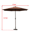 Sundale Outdoor 10 ft Solar Powered 24 LED Lighted Patio Umbrella Table Market Umbrella with Crank and Push Button Tilt for Garden, Deck, Backyard, Pool, 8 Steel Ribs (Coffee)