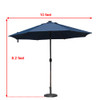Sundale Outdoor 10 ft Solar Powered 24 LED Lighted Patio Umbrella Table Market Umbrella with Crank and Push Button Tilt for Garden, Deck, Backyard, Pool, 8 Steel Ribs (Navy Blue)