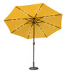 Sundale Outdoor 10 ft Solar Powered 24 LED Lighted Patio Umbrella Table Market Umbrella with Crank and Push Button Tilt for Garden, Deck, Backyard, Pool, 8 Steel Ribs (Yellow)