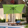 Sundale Outdoor Rectangular Solar Powered 26 LED Lighted Patio Umbrella Table Market Umbrella with Crank and Push Button Tilt for Garden, Deck, Backyard, Pool, 6 Alu. Ribs, 9 by 6.5-Feet (Apple Green)