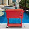 Sundale Outdoor Deluxe 80-Quart Portable Patio Party Drink Cooler Cart with 4 Wheels, Rolling Ice Chest , Bottle Opener and Bottom Tray, Red