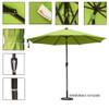 Sundale Outdoor 10 Ft Sunbrella® Canopy Patio Market Umbrella Garden Aluminum Umbrella with Crank and Auto Tilt, Apple Green