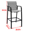 Sundale Outdoor Counter Height Bar Stool All Weather Patio Furniture with Quick-dry Textilene Fabric, 2 PCS Set (Dark Grey)