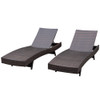 Sundale Outdoor 2PCS Deluxe Patio Adjustable Wicker Chaise Lounge Set with Cushions and 2 Throw Pillows (Tan)