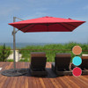 Sundale Outdoor 9.5ft Square Offset Hanging Umbrella Market Patio Umbrella Aluminum Cantilever Pole w/Cover, Crank Lift and Cross Frame, Polyester Canopy, 360°Rotation, for Garden, Deck,Backyard, Red