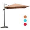 Sundale Outdoor 9.5ft Square Offset Hanging Umbrella Market Patio Umbrella Aluminum Cantilever Pole w/Cover, Crank Lift and Cross Frame, Polyester Canopy, 360°Rotation, for Garden, Deck,Backyard, Tan