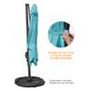 Sundale Outdoor 9.5ft Square Offset Hanging Umbrella Market Patio Umbrella Aluminum Cantilever Pole w/Cover, Crank Lift and Cross Frame, Polyester Canopy, 360°Rotation, for Garden,Deck,Backyard, Blue
