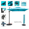 Sundale Outdoor 10ft Square Offset Hanging Umbrella Market Patio Umbrella Aluminum Cantilever Pole w/Stylish Dual Wind Vent, Cover, Crank Lift and Corss Frame, 360°Rotation, for Garden,Backyard, Blue