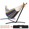 Lazy Daze Hammocks Double Hammock with Space Saving Steel Stand Includes Portable Carrying Case and Head Pillow, 450 Pounds Capacity (Tropical)