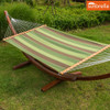 Lazy Daze Hammocks Sunbrella Fabric Hammock with 12 Feet Wood Arc Stand, Backyard Combo Set, Forest Stripe