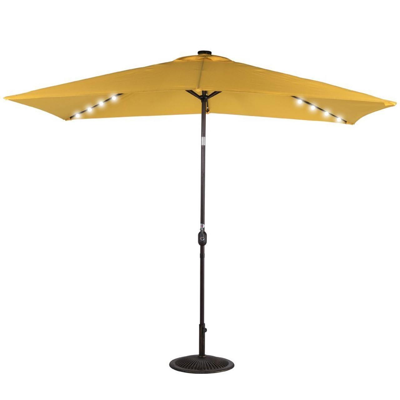 Rectangular Solar Powered 22 Led Lighted Outdoor Patio Umbrella Yellow