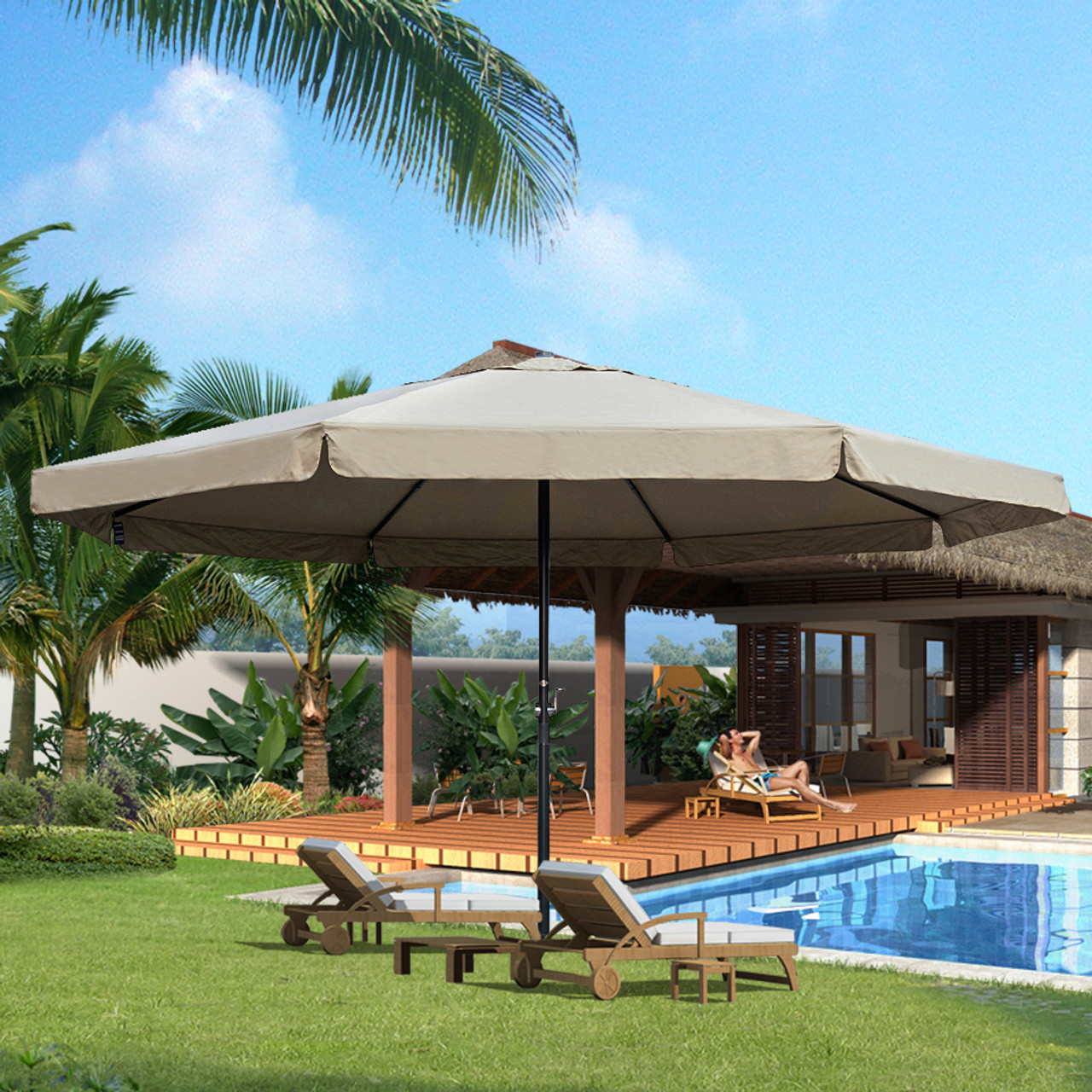 16 Feet Large Market Patio Umbrella With Cross Base Tan