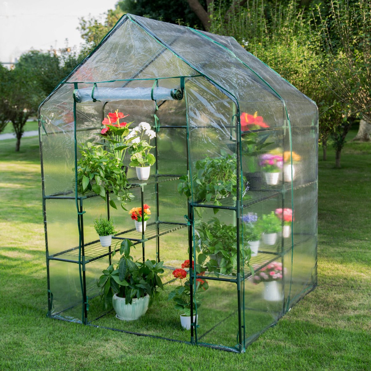 6 Tier Steeple Walk in Plant Green House with PVC Cover, 56 5