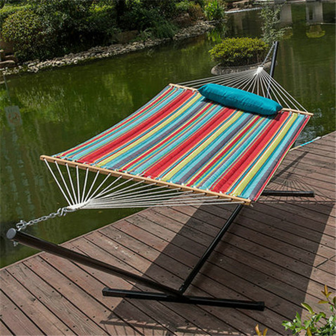 15 Feet Heavy Duty Steel Hammock Stand Two Person Quilted