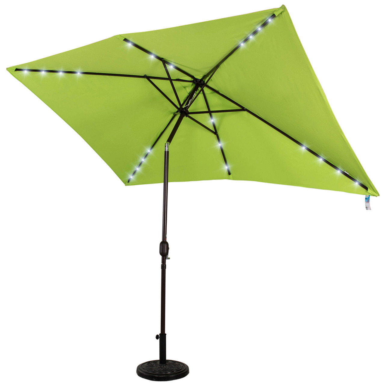 Rectangular Solar Powered 22 Led Lighted Outdoor Patio Umbrella With