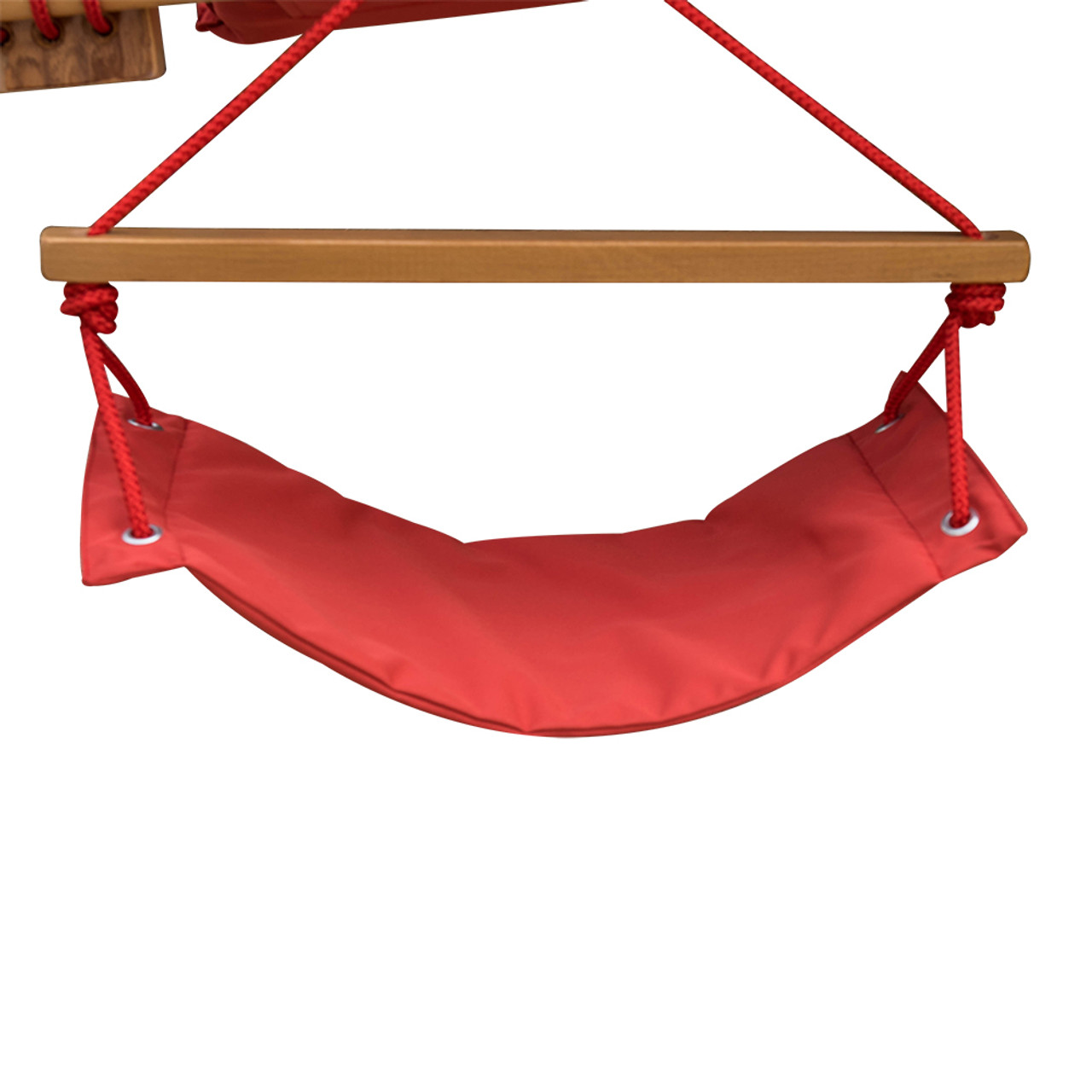 Deluxe Oversized Double Hanging Rope Chair Cotton Padded Swing Chair Wood Arc Hammock Seat With Cup Holder Footrest Hardware Capacity 450 Lbs Red
