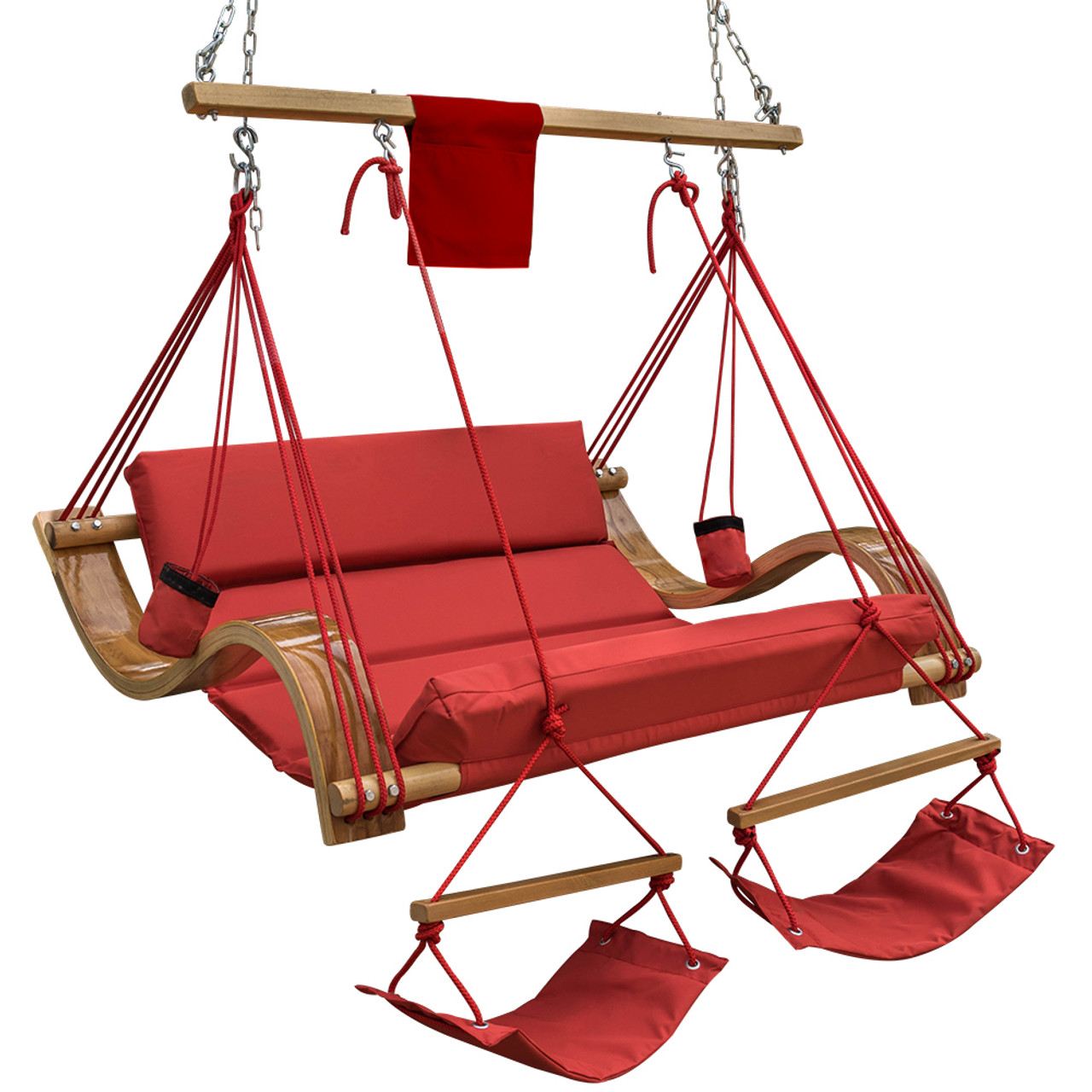 Deluxe Oversized Double Hanging Rope Chair Cotton Padded Swing Chair