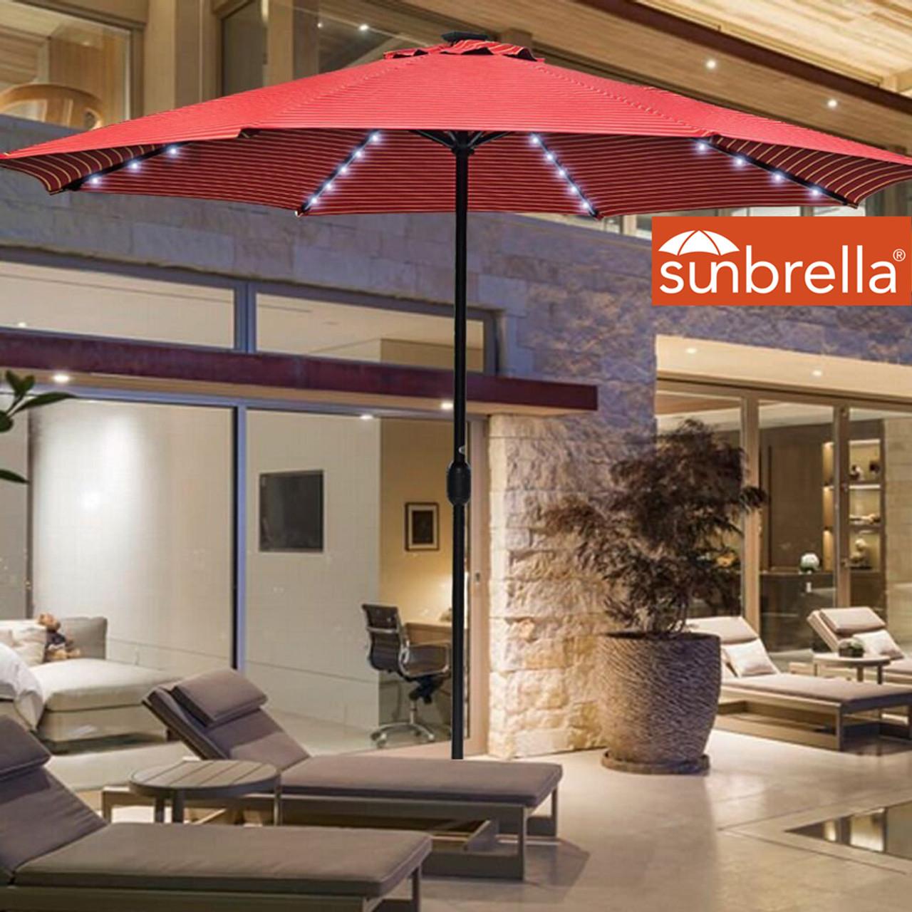 Sundale Outdoor 10 Ft Sunbrella® Canopy Solar Powered 72 LED Lighted Patio Market Umbrella Garden & Solar Powered 32 LED Lighted Outdoor Patio Umbrella with Crank and ...
