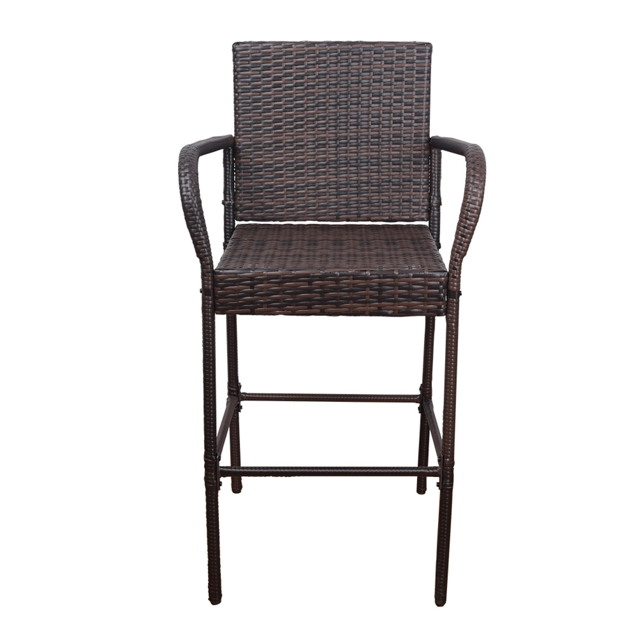 2 Pcs All Weather Patio Furniture Brown Wicker Barstool With Cushions