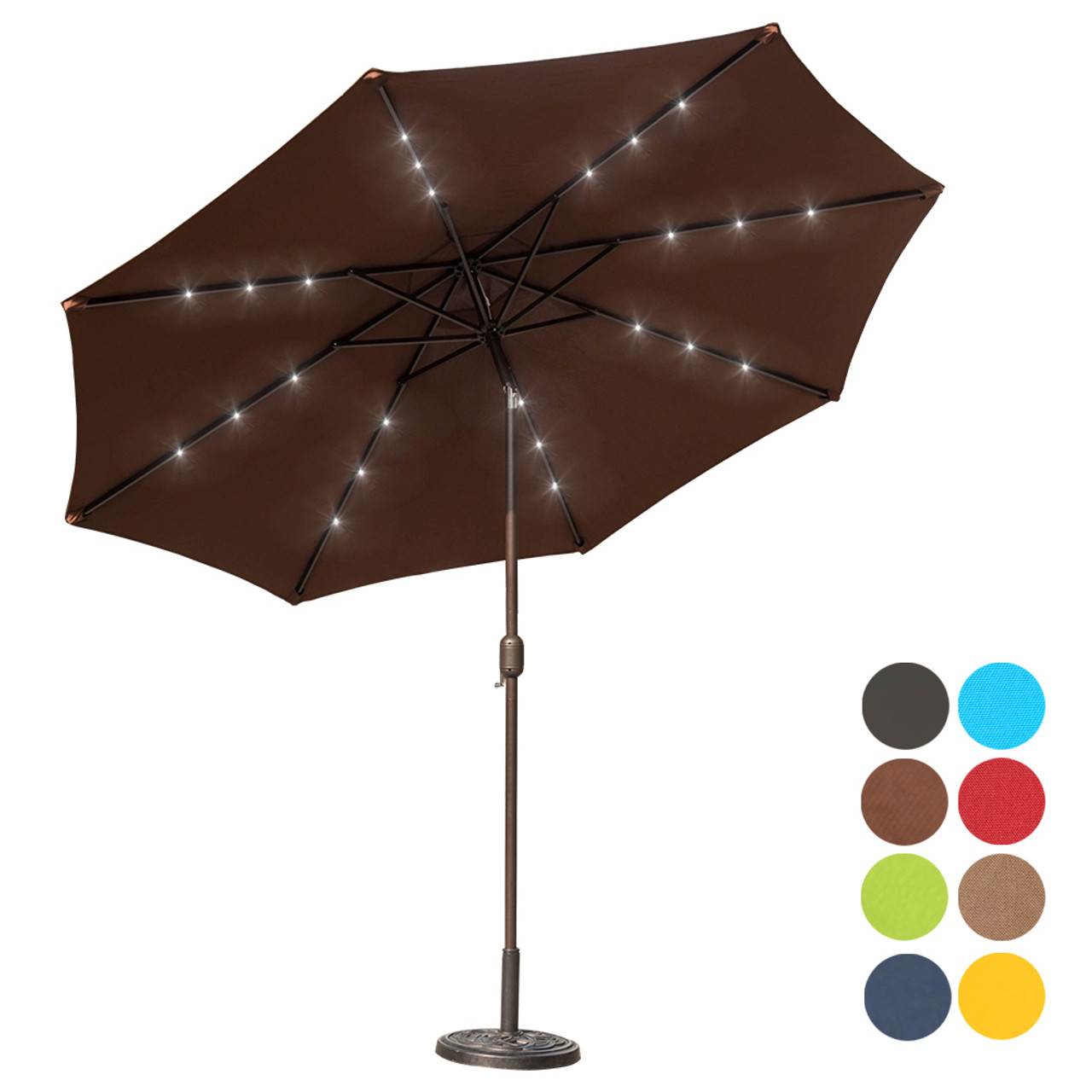 Solar Powered 32 Led Lighted Outdoor Patio Umbrella With Crank And