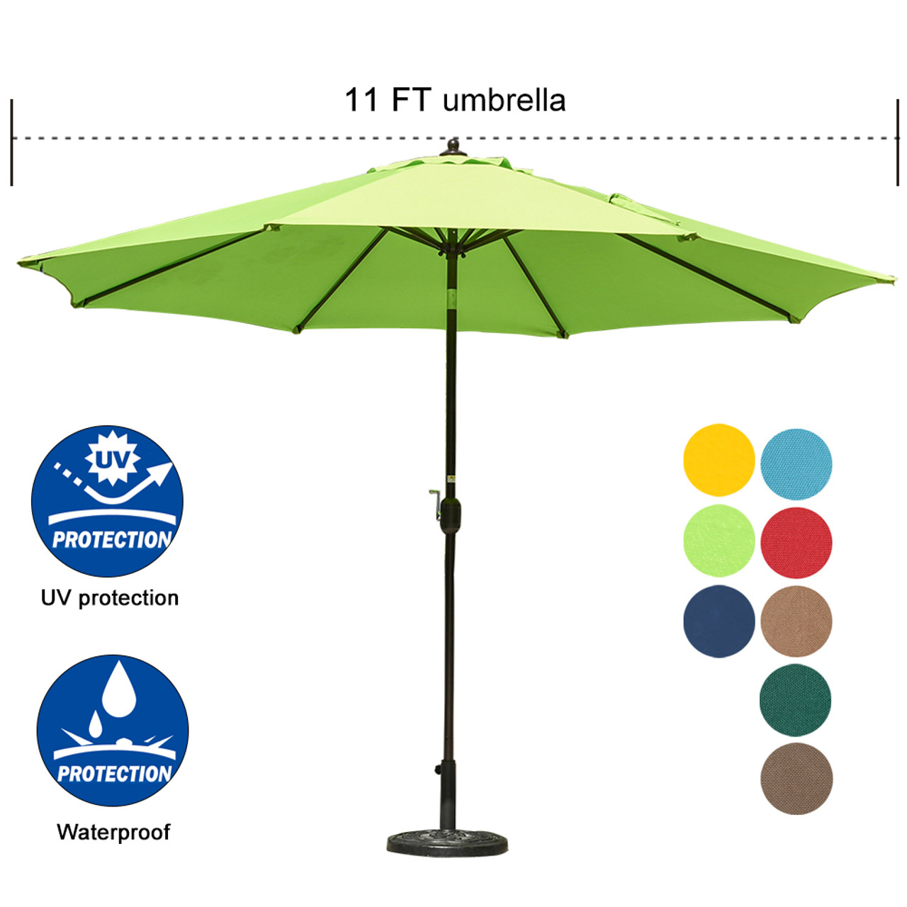 e3ef9c94bdc5 Sundale Outdoor 11 ft Aluminum Patio Umbrella Table Market Umbrella with  Crank and Push Button Tilt for Garden, Deck, Backyard, Pool, 8 Steel Ribs,  ...